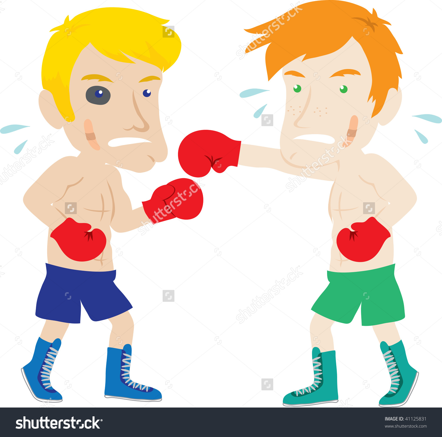 Clip Art Illustration Two Men Boxing Stock Illustration 41125831.