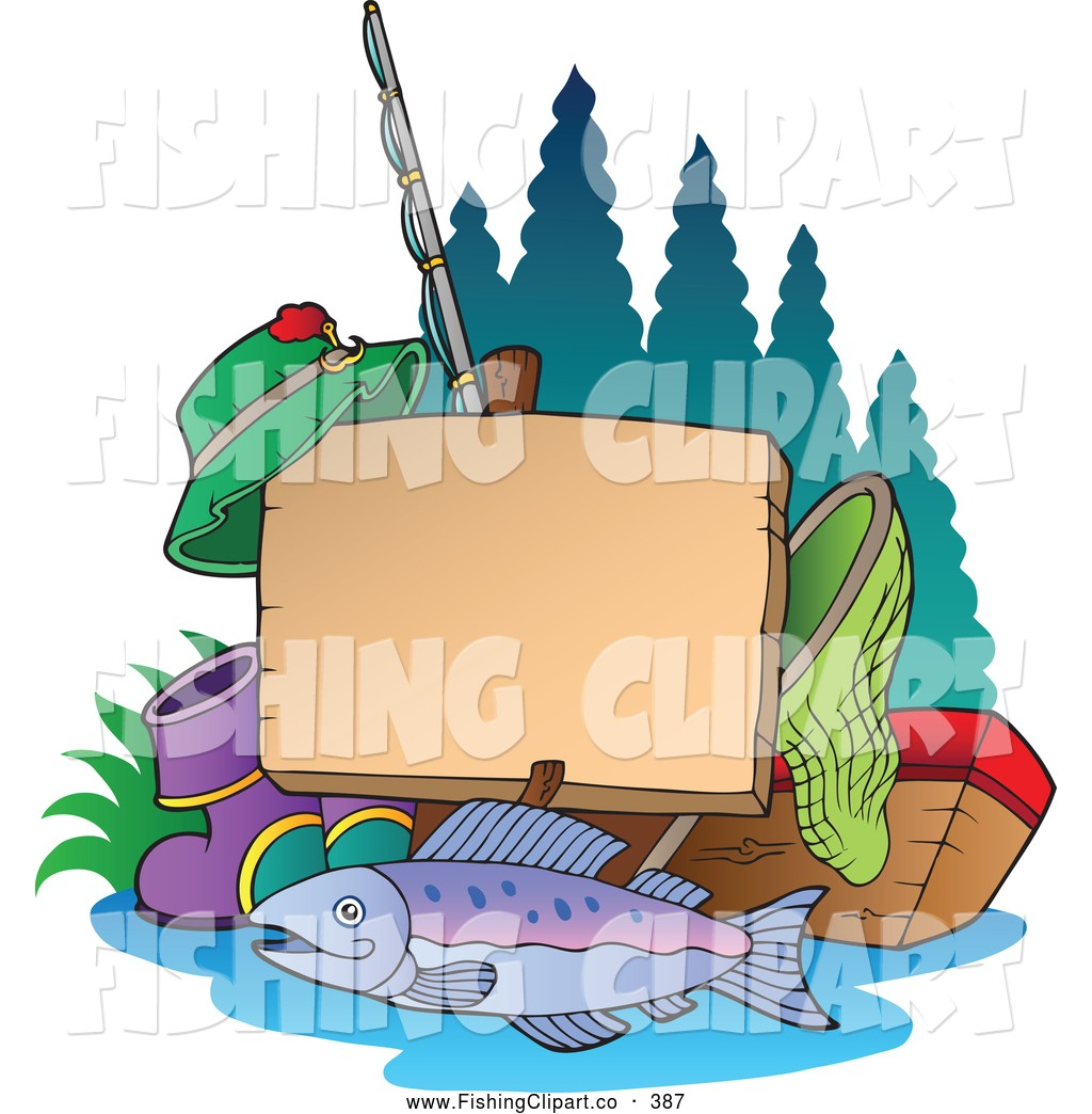 Clip Art Of A Fishing Post Sign With Gear Net Tackle Box Fish.