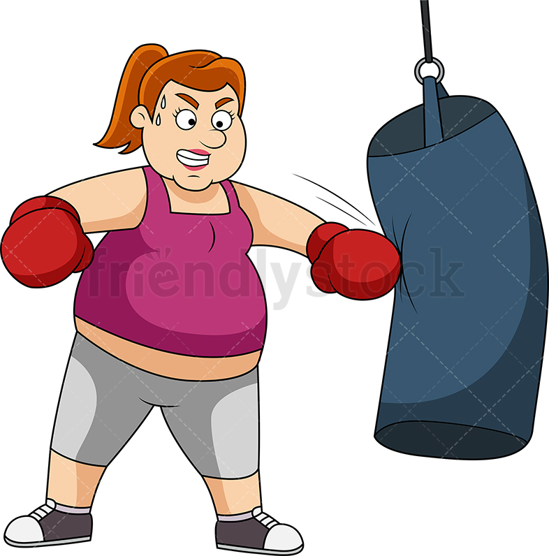 Fat Woman Working Out With Boxing Bag.