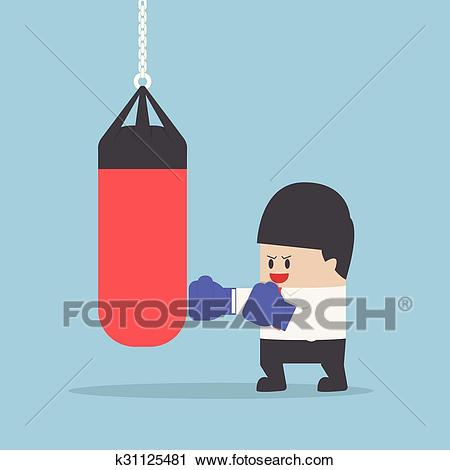 Businessman wearing boxing gloves and punch the punching bag Clipart.