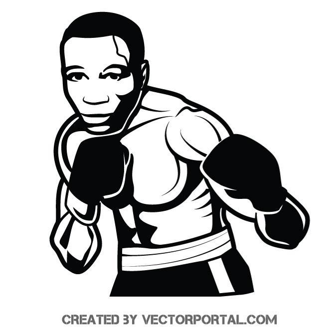 Boxer monochrome vector image.