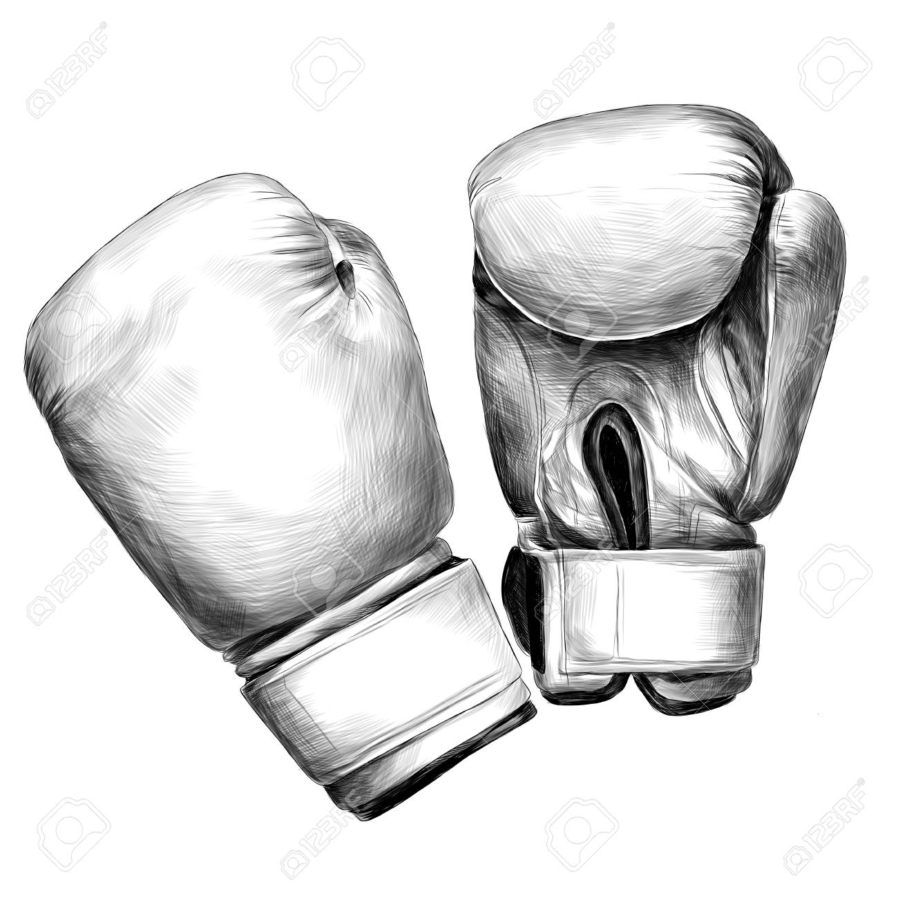 Boxing gloves sketch vector graphics monochrome black.