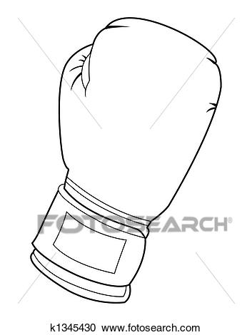 Black and white boxing glove Clipart.