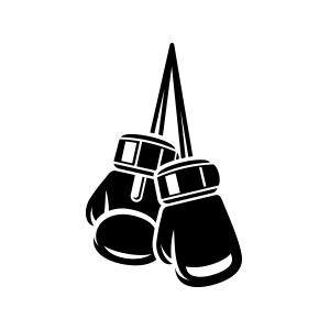 Boxer boxing gloves hanging logo vector.