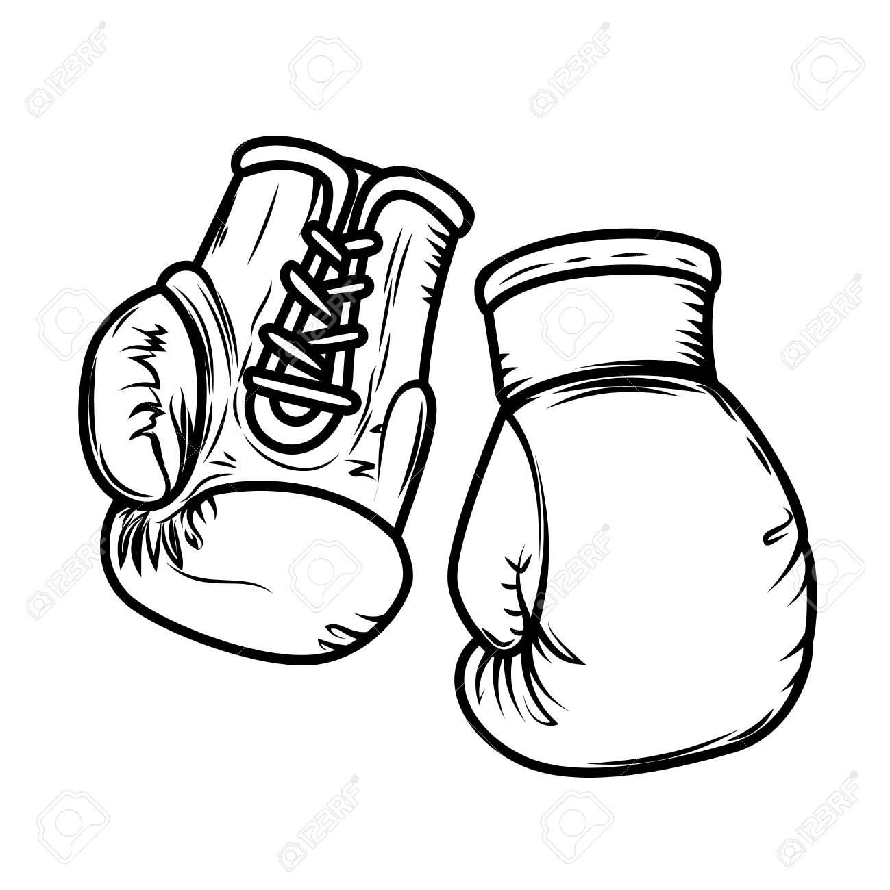 Illustration of boxing gloves. Design elements for logo, label,...