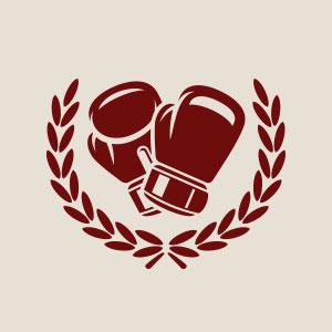 Boxer boxing gloves winning logo vector.
