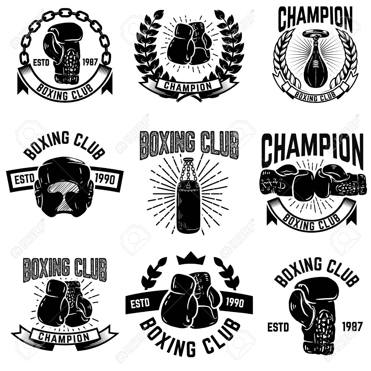 Set of boxing club emblems. boxing gloves. Design elements for...