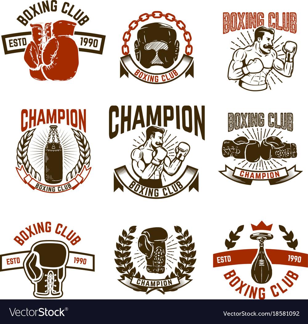 Set of boxing club emblems boxing gloves.