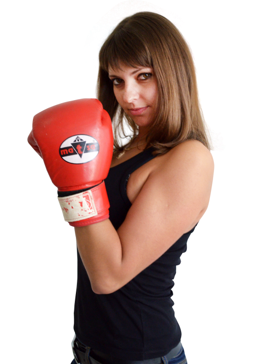 Woman With Boxing Gloves PNG Transparent Image.