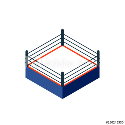 Empty boxing ring icon. Clipart image isolated on white background.