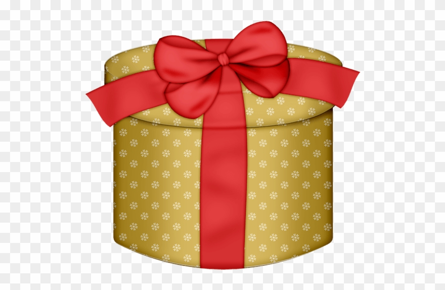Yellow Round Gift Box With Red Bow Png Clipart.
