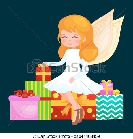 Clipart Vector of christmas holiday girl angel with wings and.