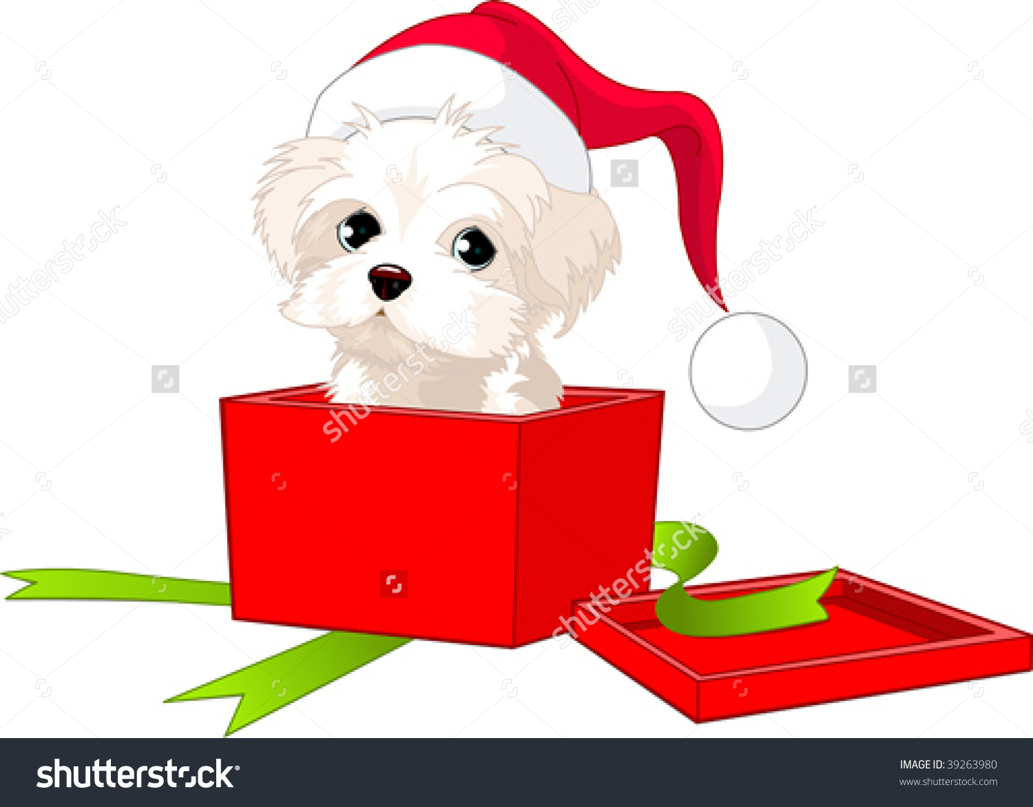 A Cute Puppy Wrapped Up In A Box Like A Christmas Gift. Stock.
