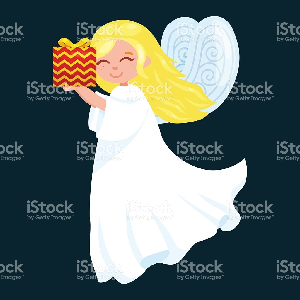 Christmas Holiday Flying Angel With Wings And Gifts Box Like stock.