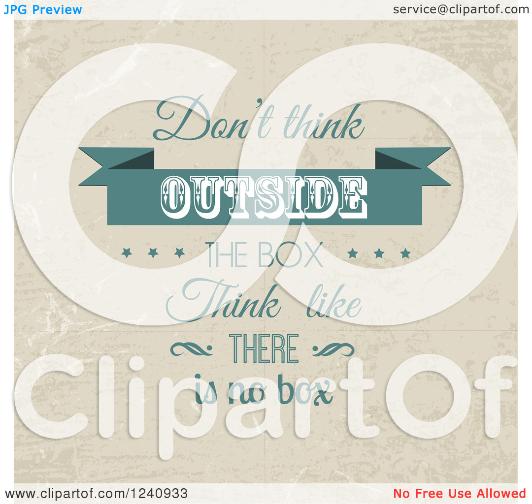Clipart of a Retro Dont Think Outside the Box Think like There Is.