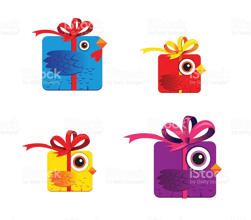 Birds Like Gift Box Like Rooster 2017 China Symbol stock vector.