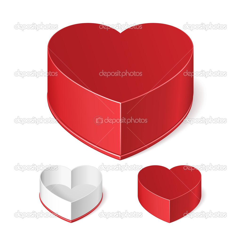 Opened And Closed Valentines Day Red Gift Candy Box Like Heart.