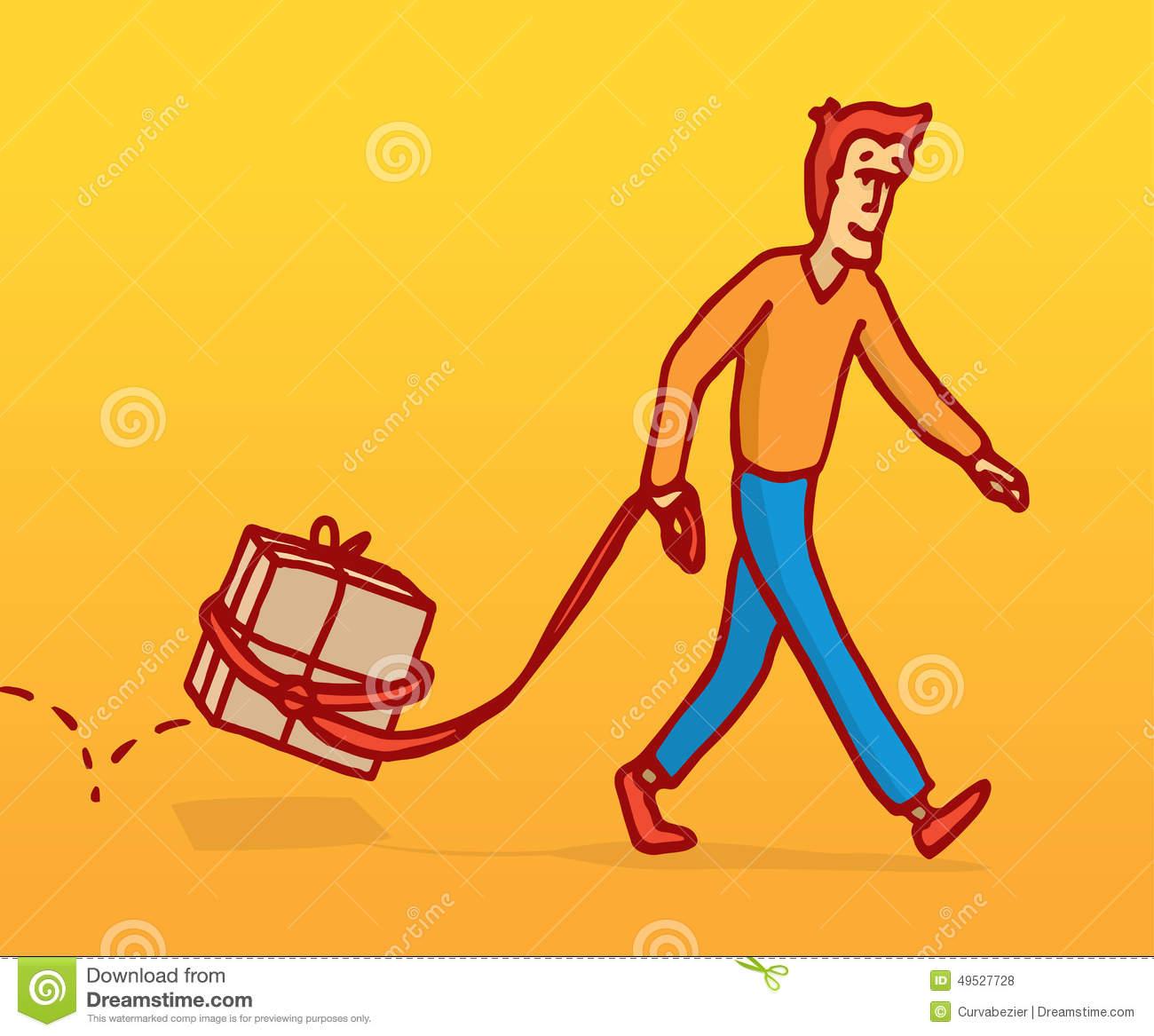Funny Man Walking A Box Like A Pet Stock Vector.