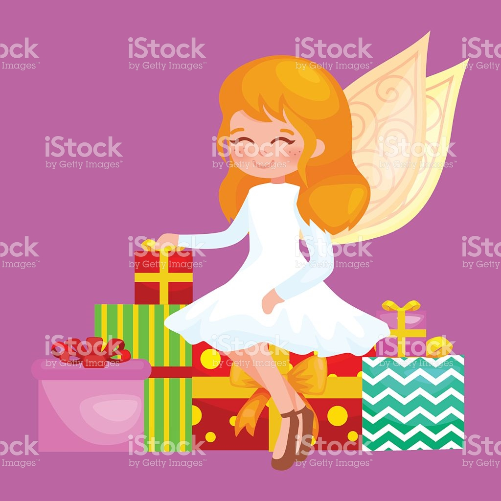 Christmas Holiday Girl Angel With Wings And Gifts Box Like stock.