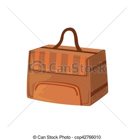 Vector Clip Art of Brown Square Box Like Handbag Item From Baggage.