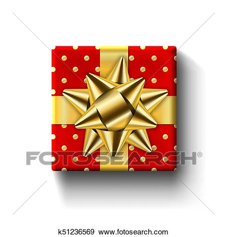 Gift box top view isolated Vector template Clip Art.