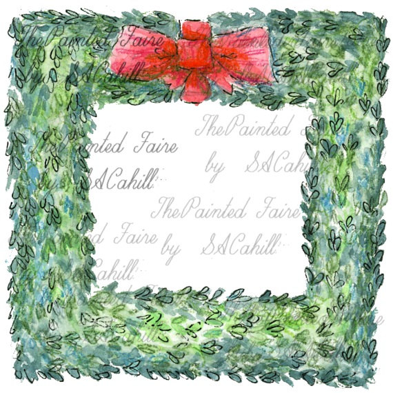 Christmas Wreath Clip Art Square Wreath clip art boxwood by.