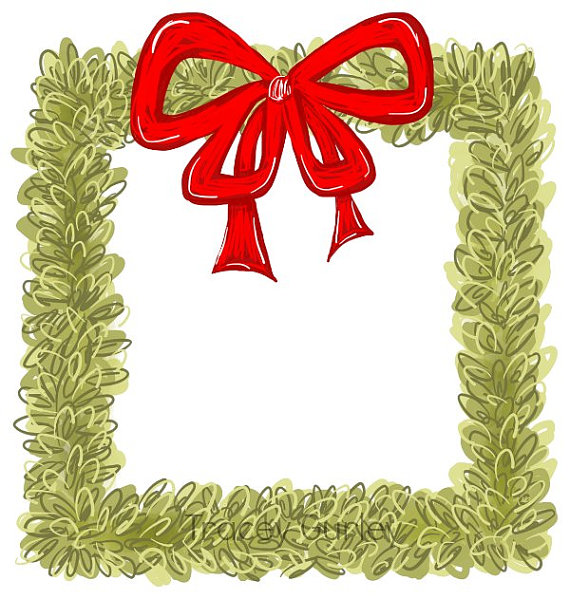 Boxwood Wreath Clip art watercolor christmas clip art.