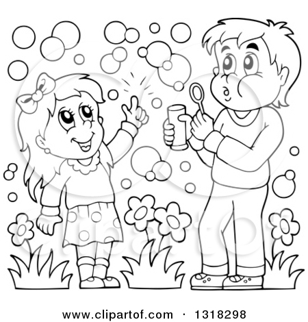 Clipart of a Cartoon Caucasian Boy and Girl Blowing Bubbles.