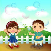 Stock Illustration of Boy and Girl Blowing Bubbles u29458587.