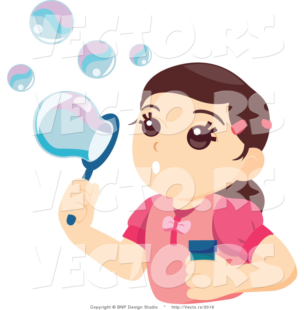 Vector of Pretty Girl Blowing Soap Bubbles by BNP Design Studio.