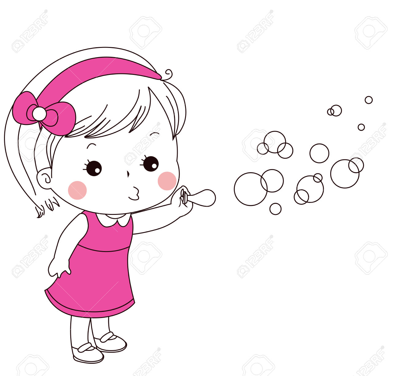 Clipart Girl Blowing Bubbles.