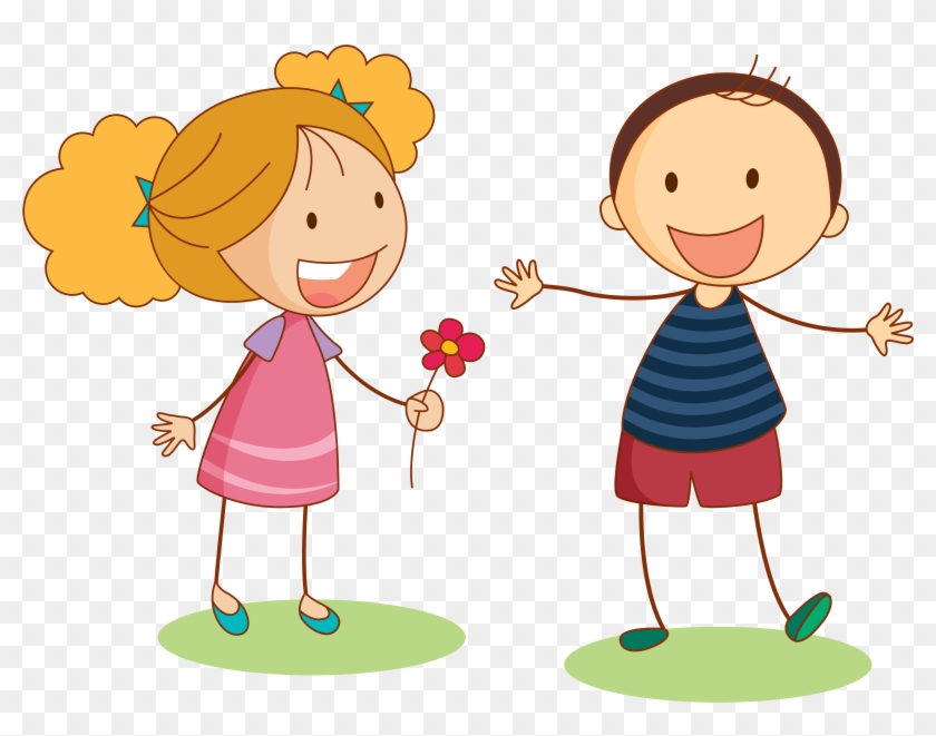 Boy And Girl Cartoon Clipart.