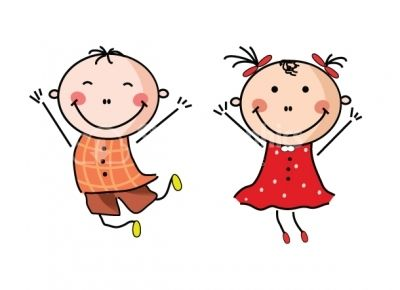 Happy boy and girl clipart design elements stock graphics image.