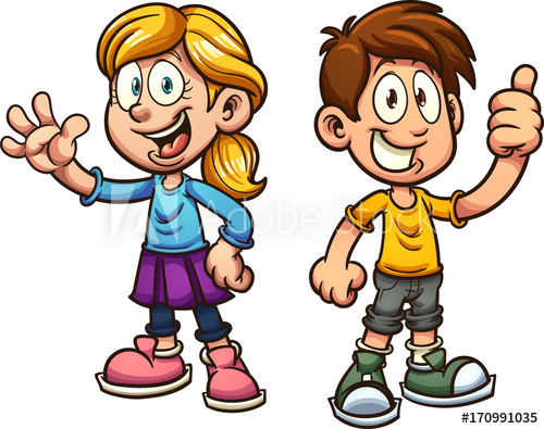 Cute cartoon boy and girl. Vector clip art illustration with simple.