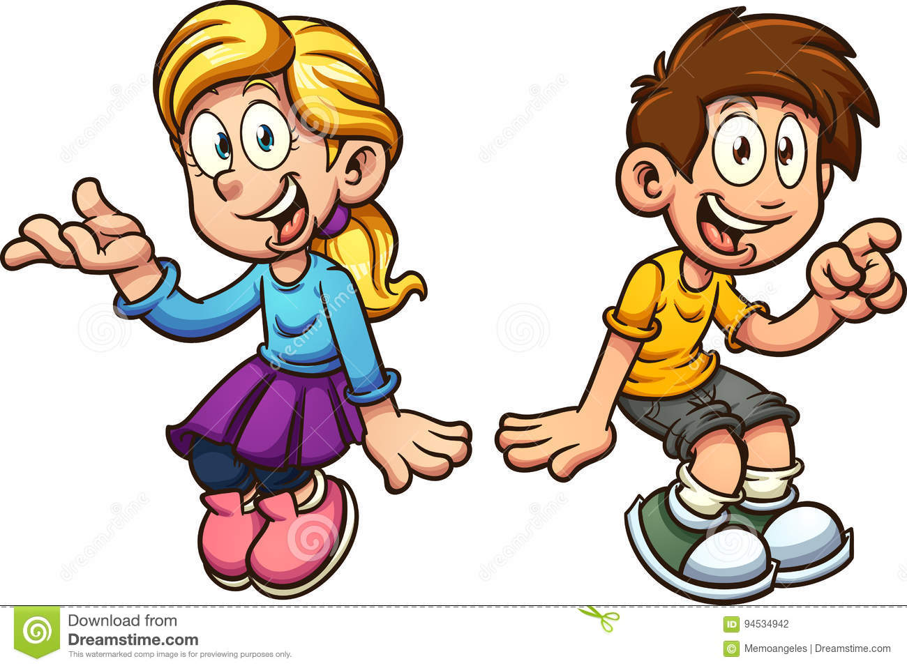 Boy and girl sitting stock vector. Illustration of sitting.