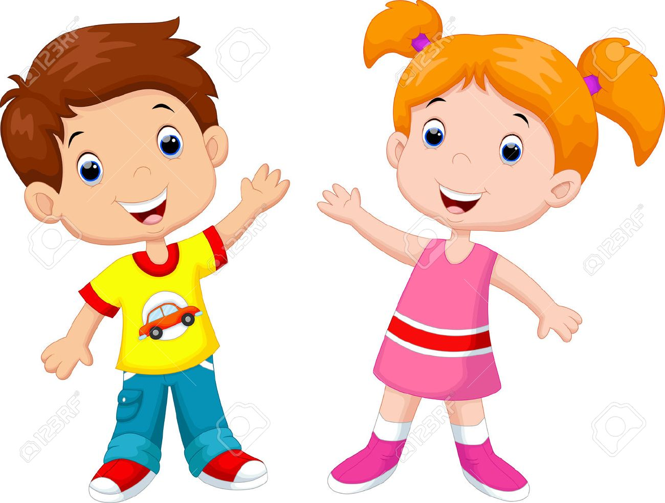 Cute cartoon boy and girl.
