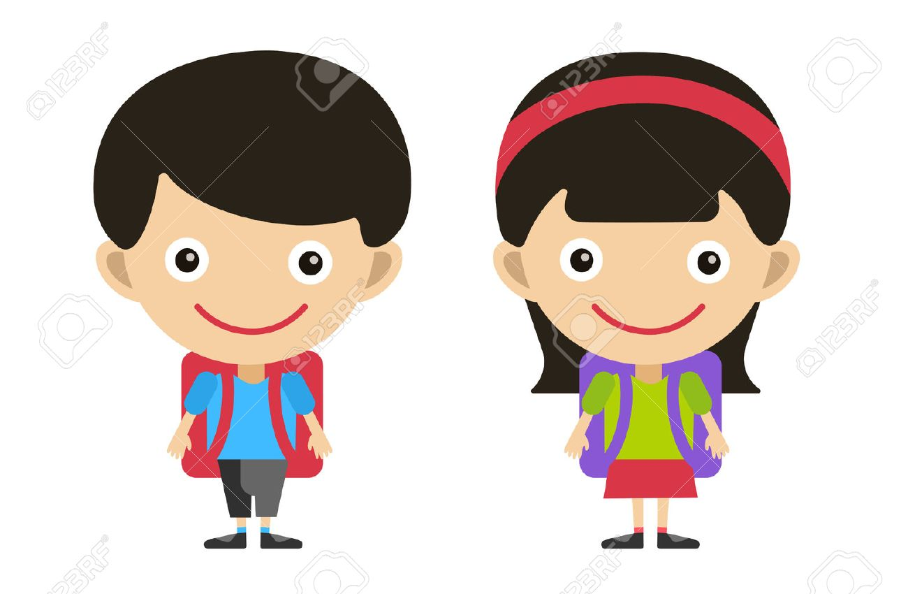 Vector cute cartoon boy and girl with school uniform isolated...