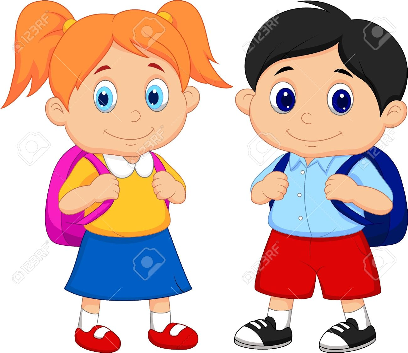 Boy and girl cartoon with backpacks.