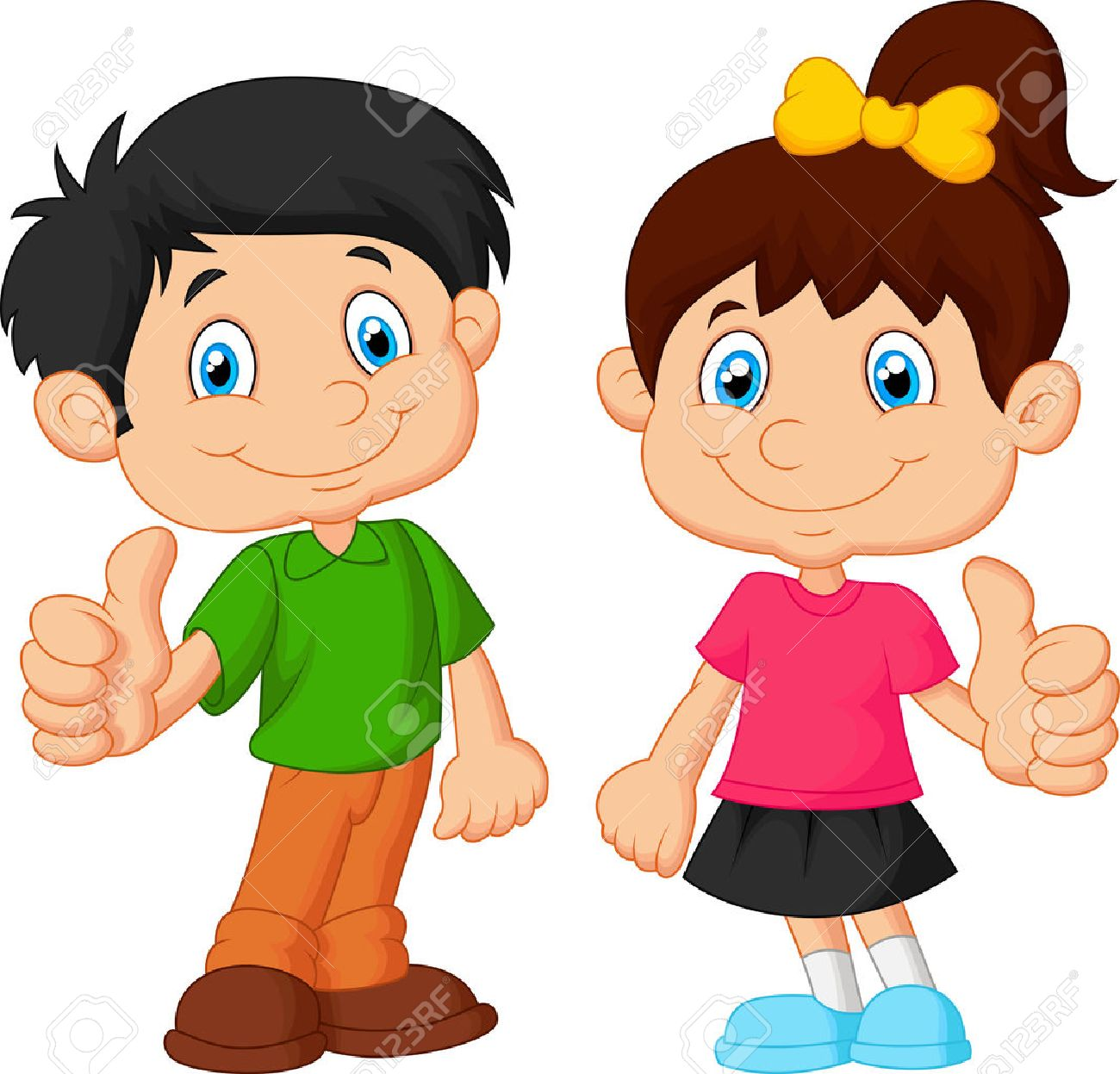 Cartoon boy and girl giving thumb up.