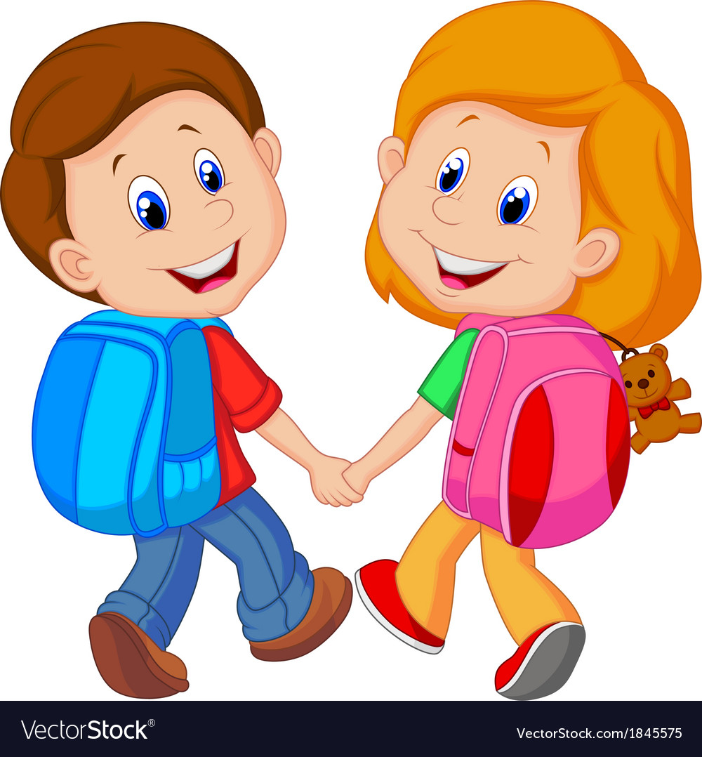 Cartoon Boy and girl with backpacks.