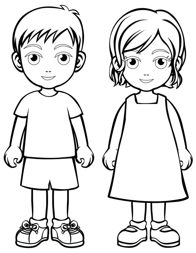 People and places coloring pages: Boy and girl.