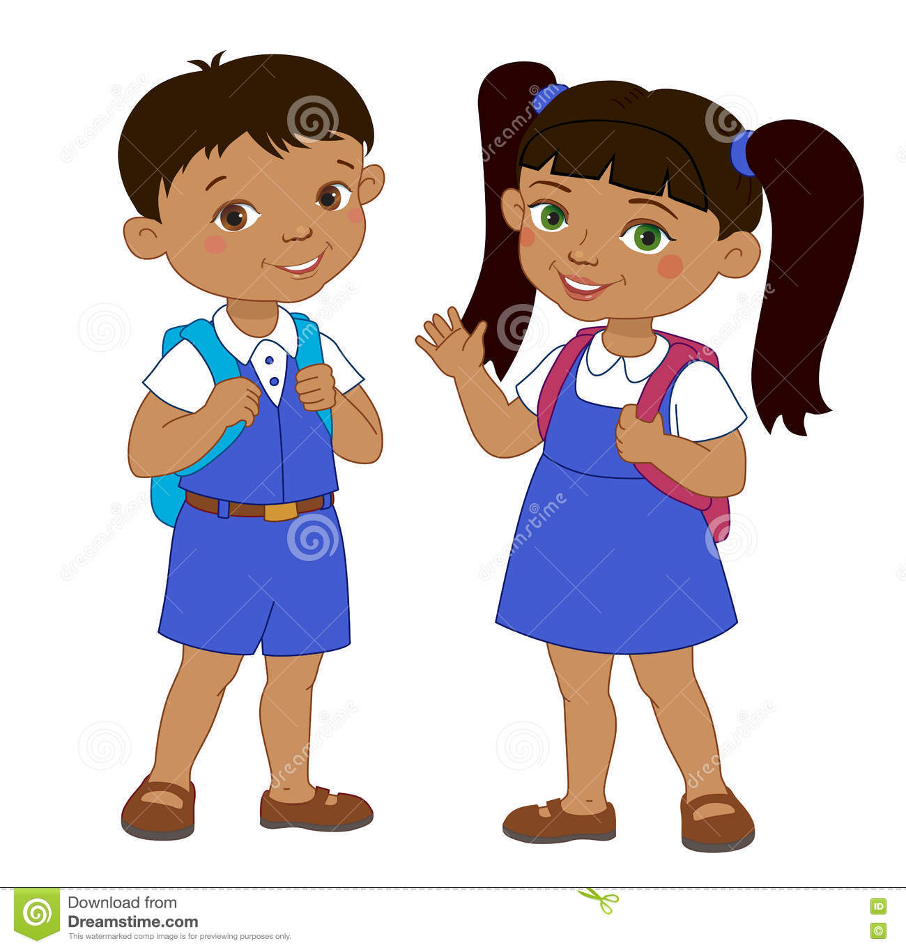 Boy And Girl With Backpacks Pupil Stay Cartoon School Stock Vector.
