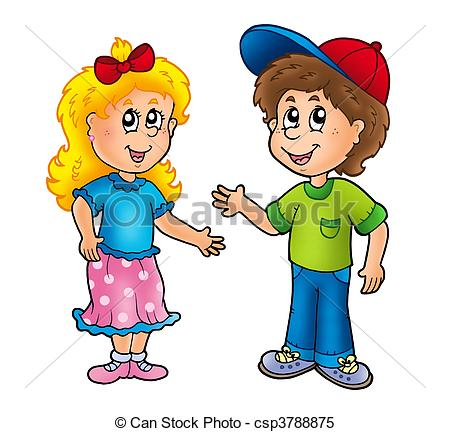 Stock Illustrations of Cartoon happy girl and boy.