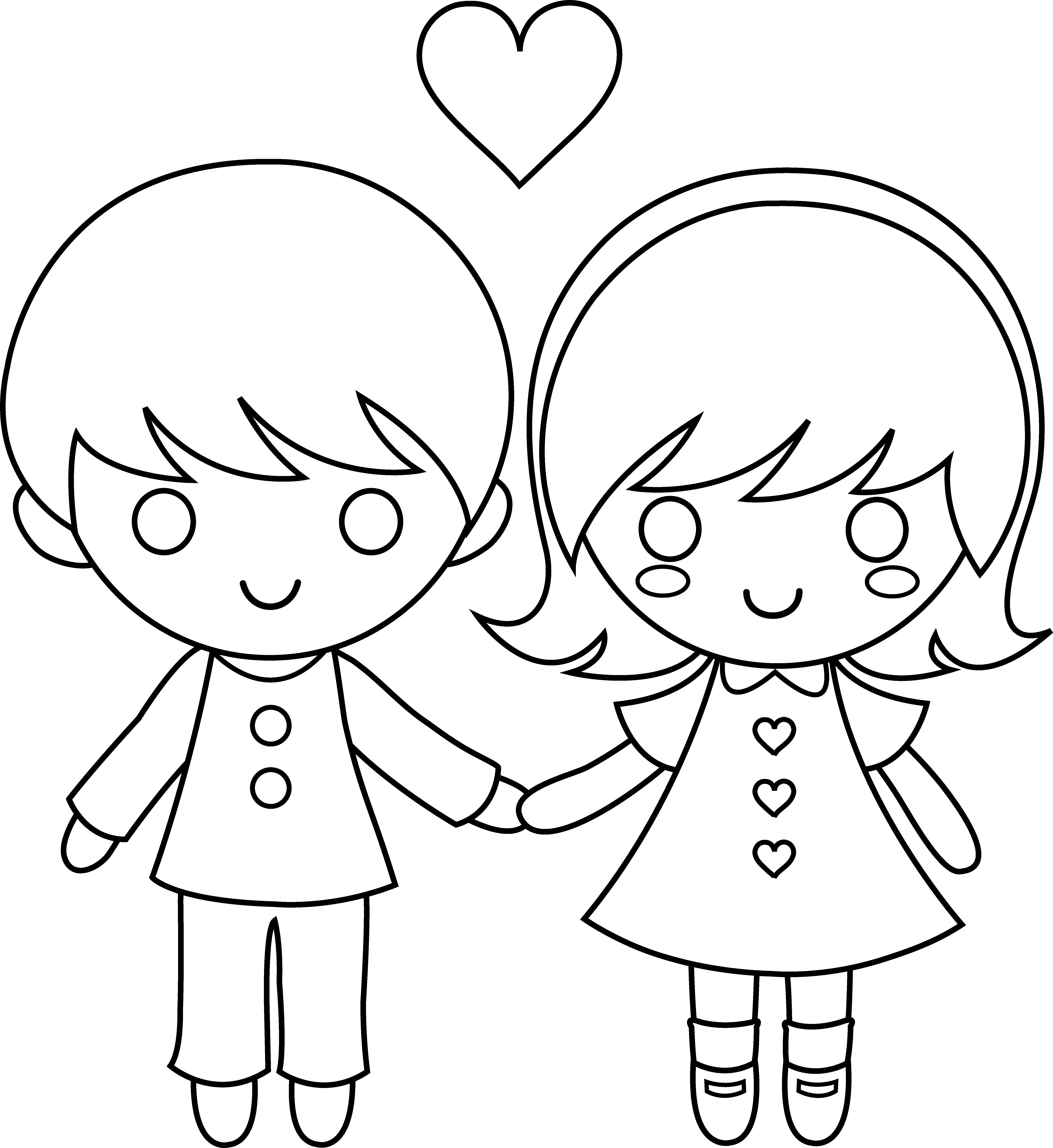 Happy Valentines Day Clip Art Black And White Valentine Kids Base Color
