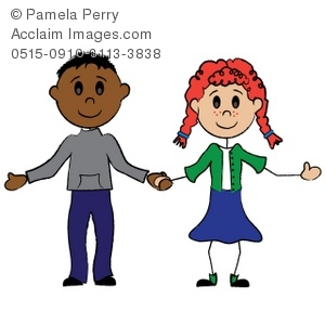 Cartoon Boy and Girl Holding Hands Royalty.