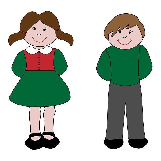 Cartoon Boy And Girl Clipart.