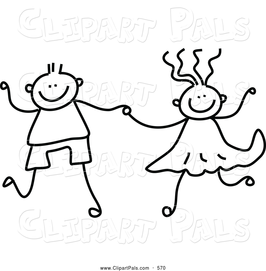 Boy and girl clipart black and white 10 » Clipart Station.