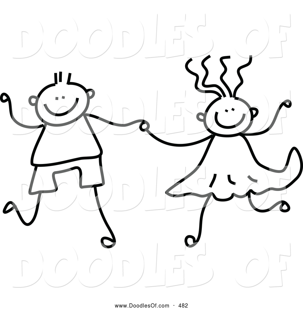 Vector Clipart of a Cute Black and White Boy and Girl Holding Hands.