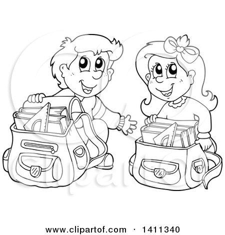 Clipart of a Black and White Lineart School Boy and Girl Going.