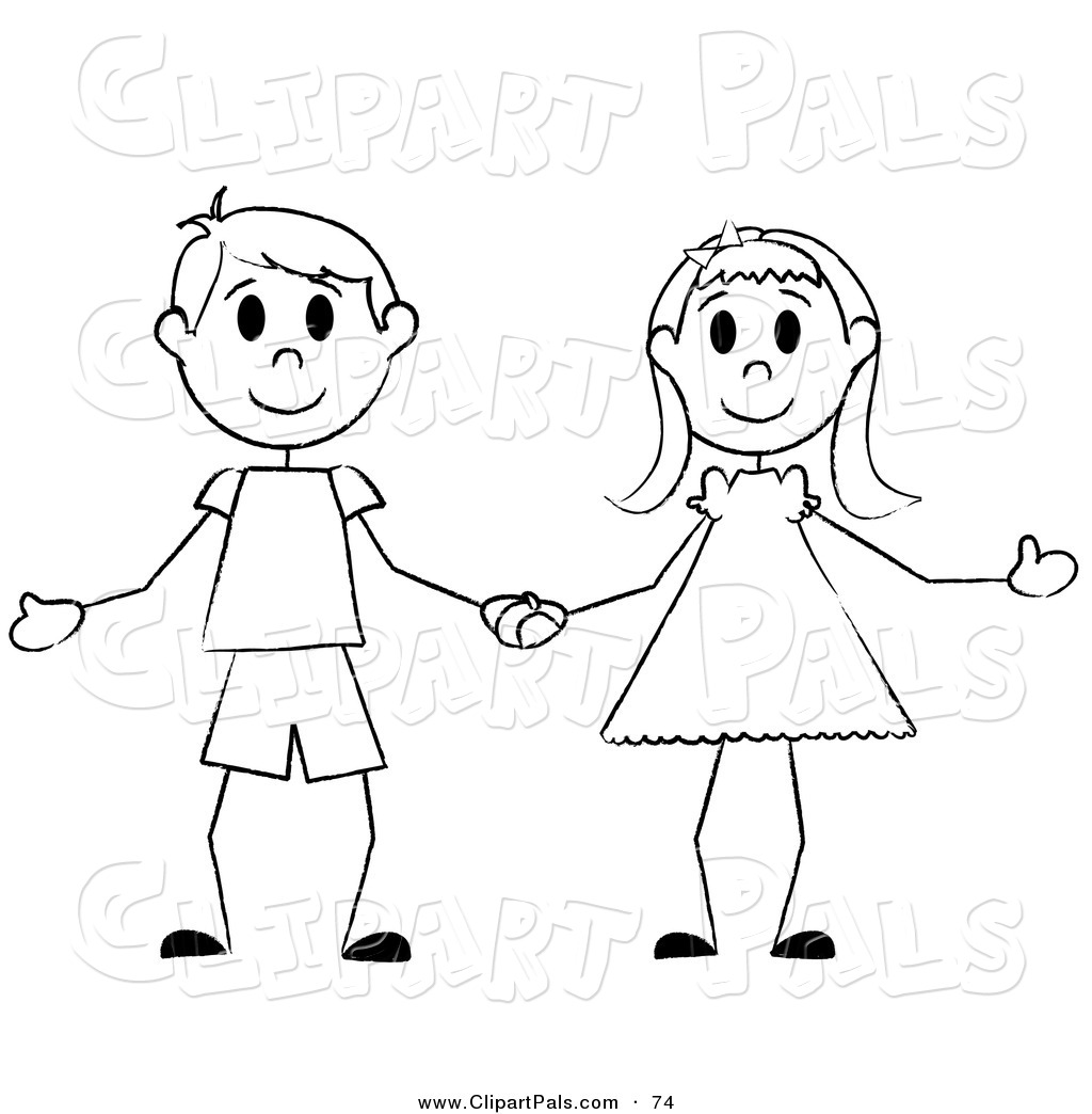 Boy and girl clipart black and white 7 » Clipart Station.